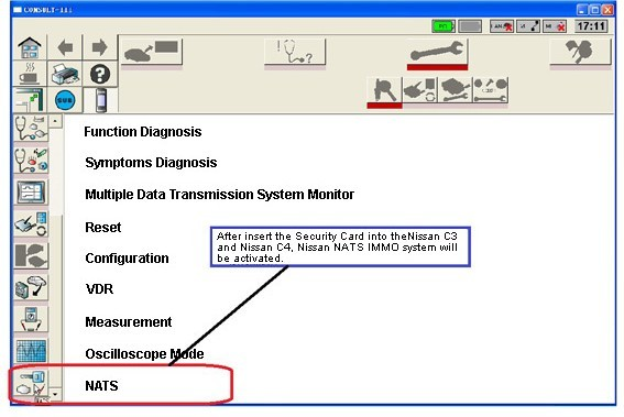 Nissan Consult 3 and Nissan Consult 4 Security Card Software Display