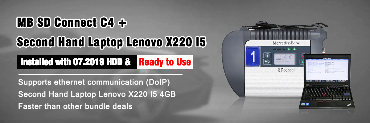 V2019.7 MB SD Connect Compact 4 Star Diagnosis Plus Second Hand Laptop Lenovo X220 I5 Ready to Use