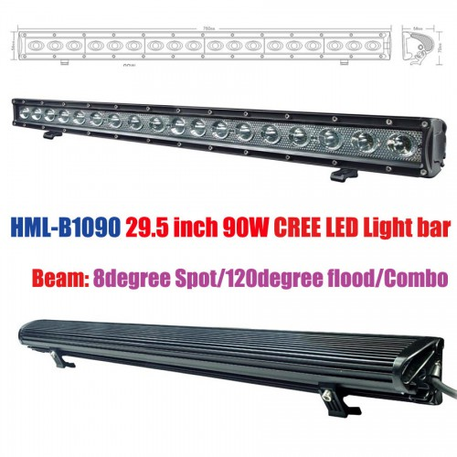 HML-B1090 29.5 inch 90W 120degree 8degree CREE LED Light Bar FLOOD Light SPOT Light WORK Light off Road Light 4wd Boat DC