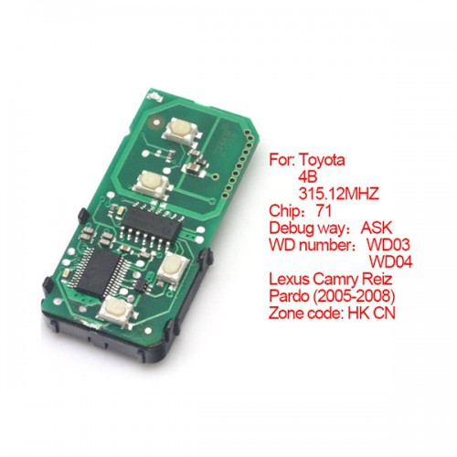 Smart Card Board 4 Buttons 315.12MHZ Number: 271451-0140-HK-CN for Toyota