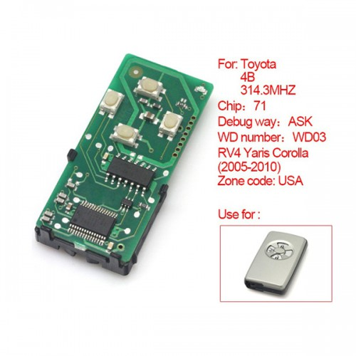 Smart Card Board 4 Key 314 Frequency Number 0111-USA for Toyota