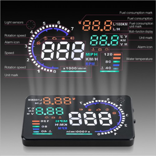 "5.5"" Large Screen Car HUD Head Up Display With OBD2 Interface Plug & Play A8 Free Shipping From US"
