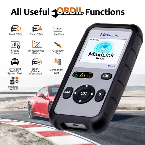 Autel MaxiLink ML529 OBD2 Scanner (Updated Version of AL519) Auto Check Engine Light Automotive Diagnostic Code Reader with Enhanced Mode 6