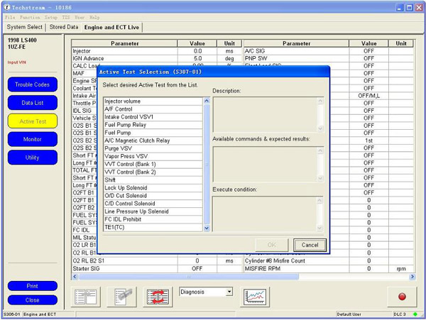 mini vci software display active test selection