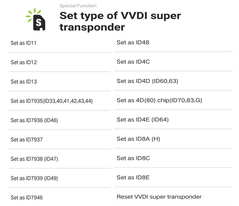 5. Set type of vvdi super chip