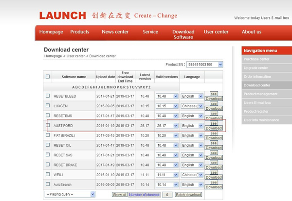 Launch X431 V 8inch Tablet Software Display